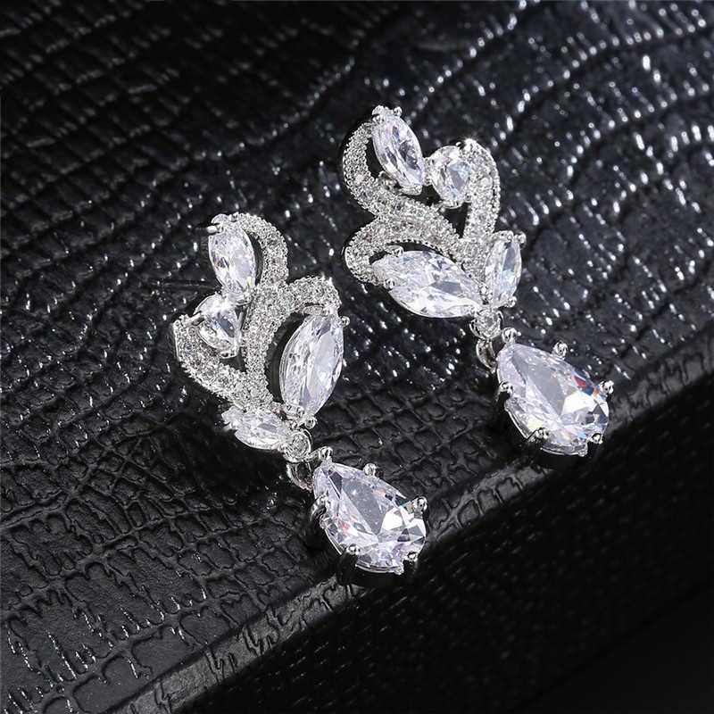 Zakol Elegan Fashion Oval Batu Cluster Bunga Pear Bentuk Cubic Zirconia Menjuntai Drop Anting-Anting untuk Pernikahan FSEP263