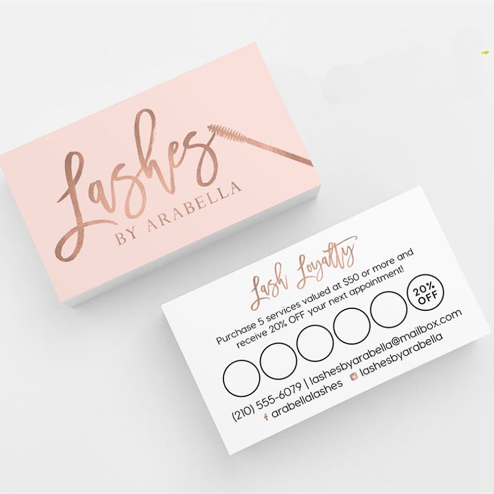 Personalize Logo Rose Gold Pink Lash Loyalty Card Business Cards  Personalized Calling Card , Custom Text Social Media Card Cards &  Invitations  - AliExpress