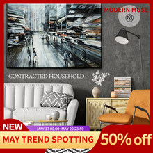 Modern Poster Vintage Retro City Street Landscape Home Decor Abstract Oil Painting Printed On Canvas Wall Art For Living Room