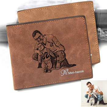 Custom Pattern Engraving Men 's Leather Bi-Fold Photo Personalized Wallet Custom Picture Carving Text Wallet Father's Day Gift custom inscription photo engraved wallet leather multi card three fold vertical wallet thin section buckle father s day gift