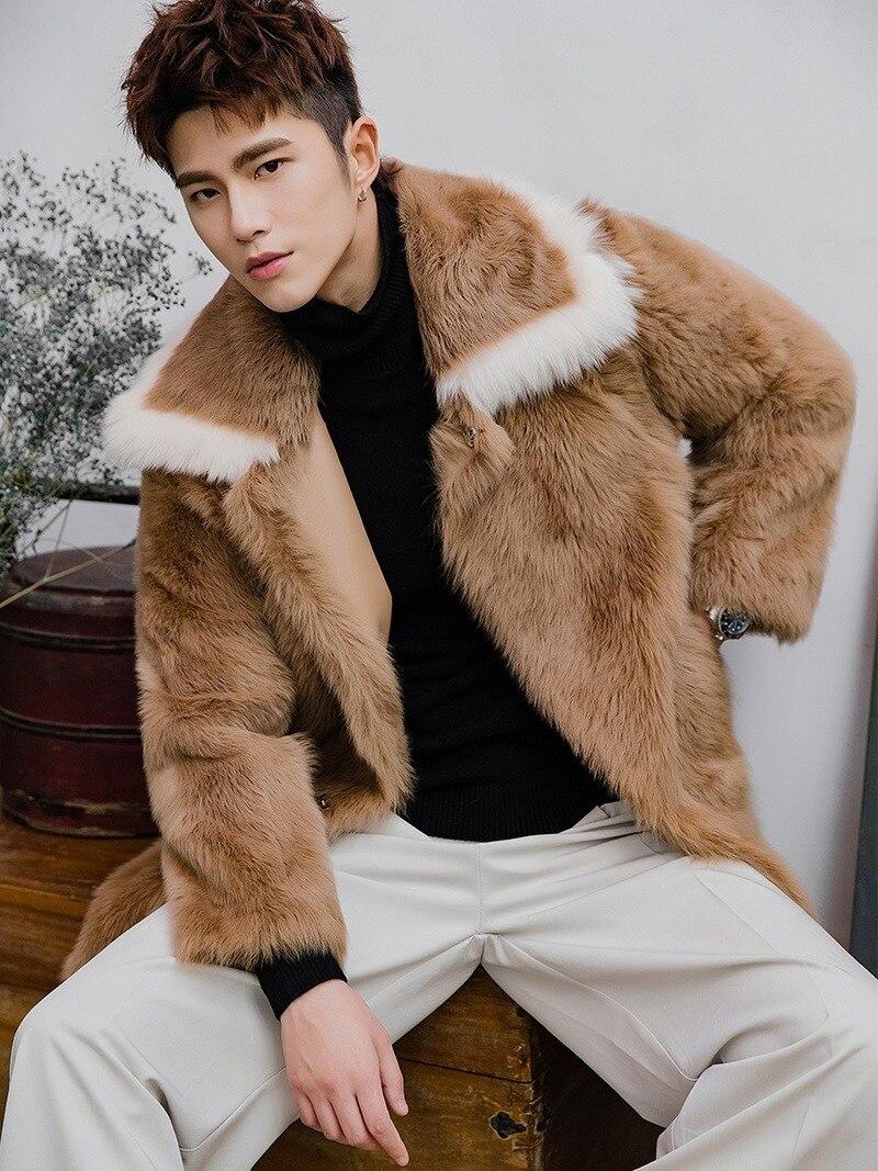 Winter Real Fur Coat Men Genuine Leather Jacket Natural Sheep Fur Coats Long Shearling Jacket Men Clothes 2020 V19131 KJ3333