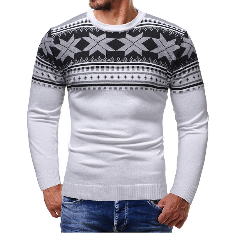 2019 Men's Christmas Sweater O Neck Tops New Male Black White Sweater Men Slim Fit Long Sleeve Pullover Print Soft Warm Sweater