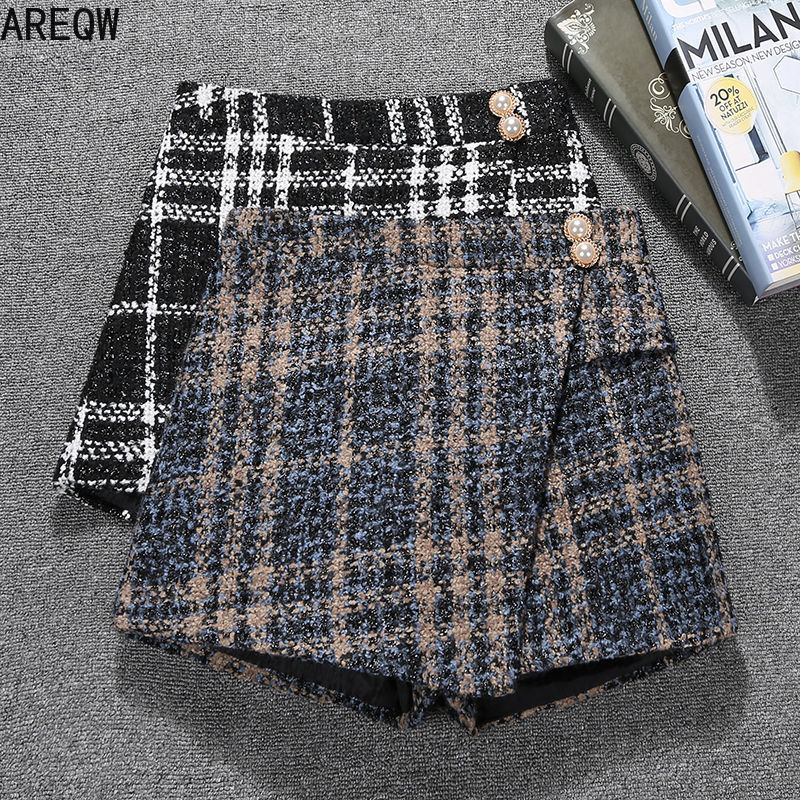 Autumn and Winter Tweed Shorts New Style Divided Korean Fashion Plaid High Waist Slim Loose Wide Leg Booty Shorts 1