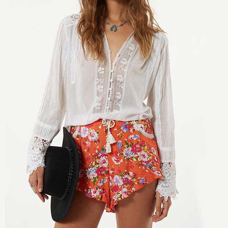 Chemisier blanc en coton à manches longues chemise bohème à fleurs broderie dentelle femme chemise ample bohème Chic col en v tunique haut sexy Blusas