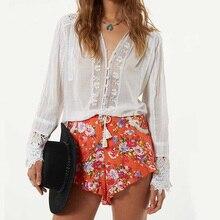 Long Sleeve Cotton White Blouse Shirt Bohemian Floral Embroidery Lace Women's Shirt Loose Boho Chic V-neck Tunic Sexy Top Blusas недорого