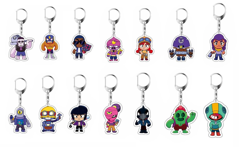 Anime Game BRAWL STARS Keychain Acrylic Action Toys Key Chain 3D Double Side Cartoon Key Ring Kid Trinket Gift Key Holder