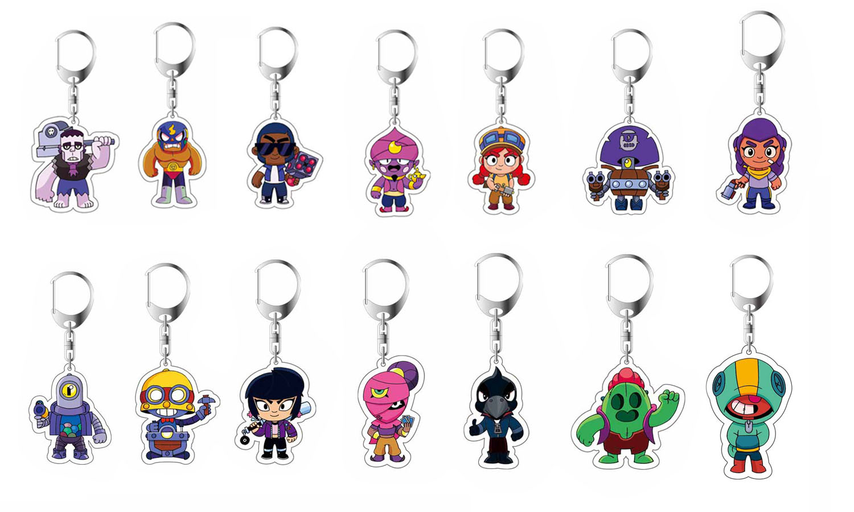BRAWLing Anime Game STARS Keychain Acrylic Action Toys Key Chain 3D Double Side Cartoon Key Ring Kid Trinket Gift Key Holder