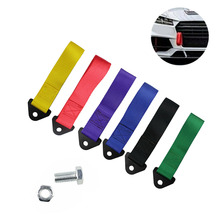 1PC Car Tow Towing Strap Belt Hook Trailer Rope Bumper Universal Red / Blue Green Black Yellow Purple