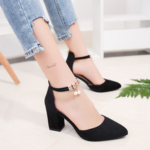 2019 Woman Pumps square heel shoes high-heeled shoe