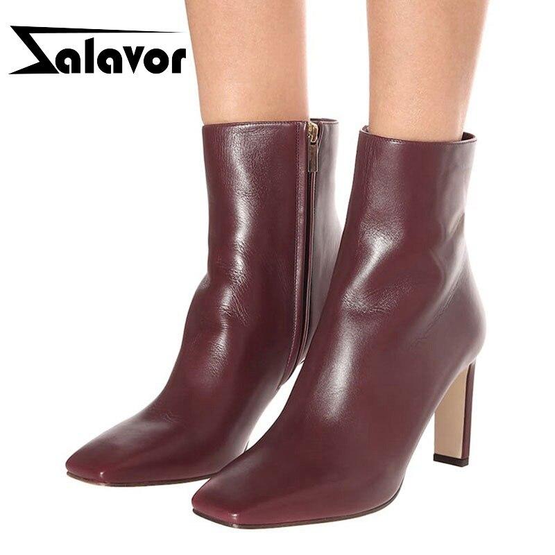 ZALAVOR Plus Size 35-48 Ankle Boots Vintage 6 Color Square Toe Casual Zipper Brand New Winter Shoes Women High Heel Short Boots