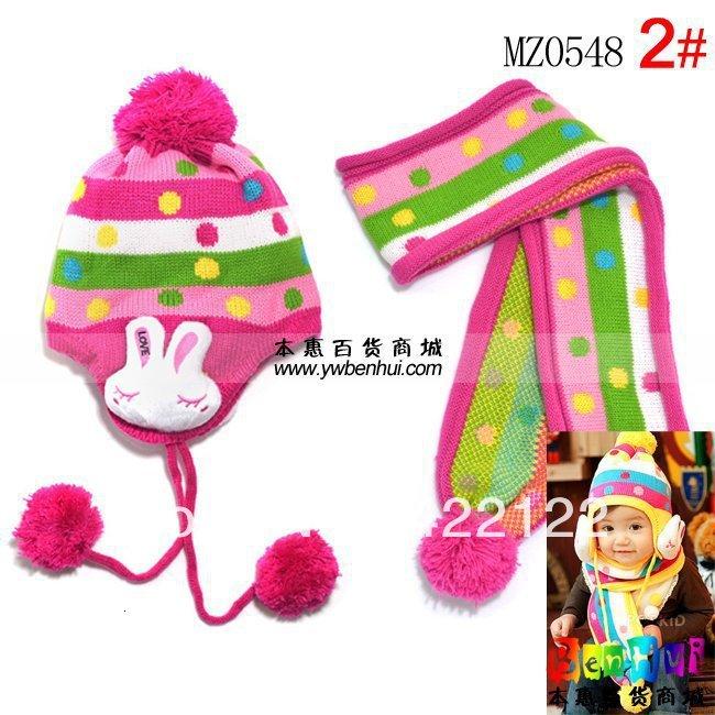 Winter Keep Warm Knitted Hats For Boy/girl/kits Hats,infants Caps Beanine Chilldren-LOVE Rabbit Scarf, Hat Mz0548-2pcs