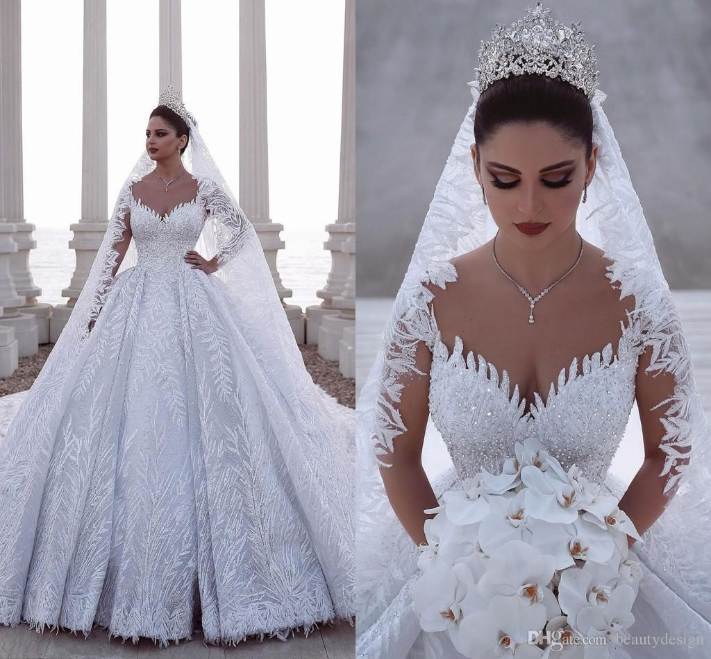 2020 Luxurious Beaded Arabic Ball Gown Long Sleeves Wedding Dresses Lace Tulle 3D Appliques Fitted Bridal Gowns Plus Size
