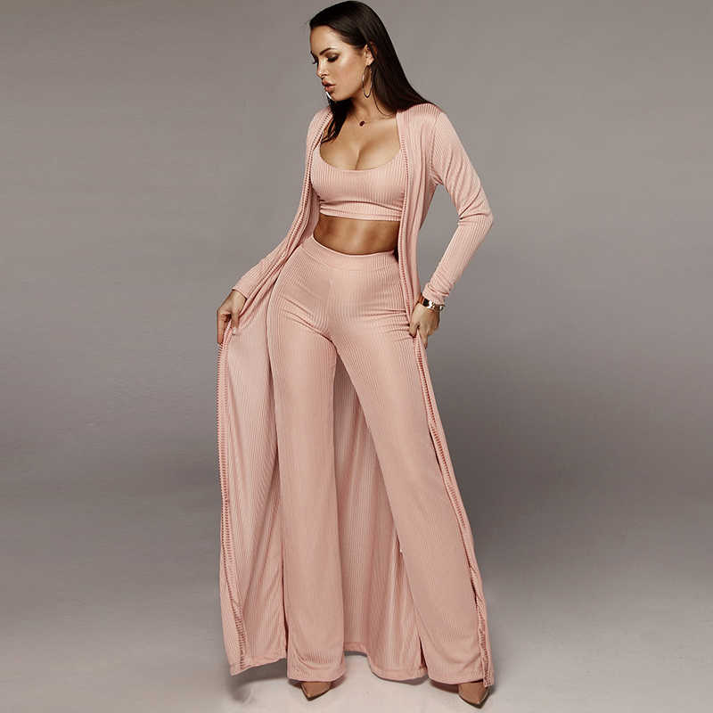 Women Knitted 3 Piece Set Spaghetti Strap Crop Top High Waist Pant Long Sleeve Cardigan Overcoat Suits Belt Autumn Streetwear