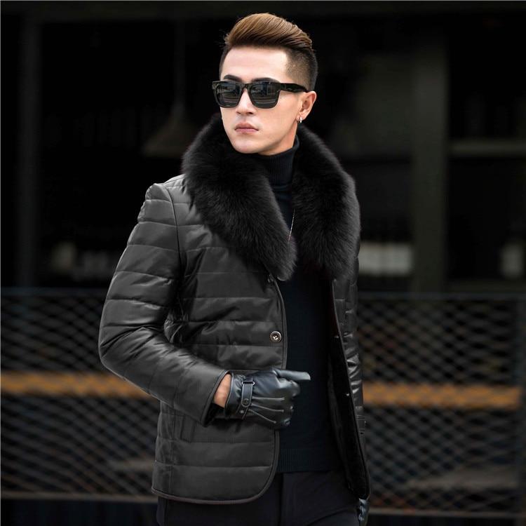 Genuine Leather Jacket Men Real Sheepskin Leather Duck Down Coat Autumn Winter Warm Plus Size Parkas 13012 MF631