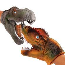 2pcs Plastic Dinosaur Hand Puppet Toy Soft PVC Animal Jurassics World Childrens Dinosaurios De Juguete