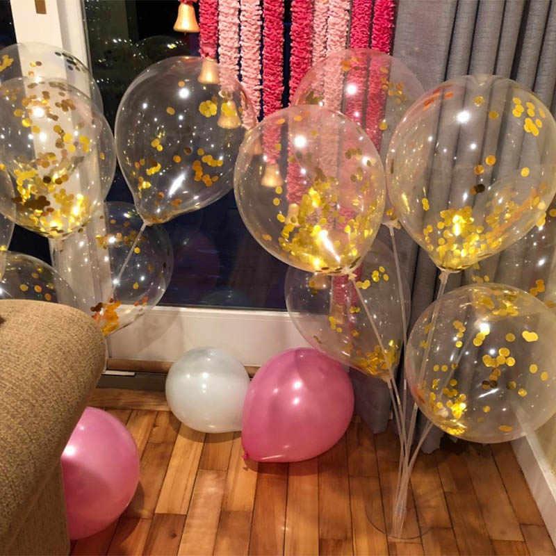50 pçs 12 polegada rosa ouro confetes látex balões de festa para o chá de panela casamento noivado aniversário decoração