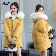 Winter Jacket Women Long Parka Cotton Hooded Fur Collar Ladies Puffer Jacket Coat Women Elegant Casaco Plus Size Winter Jacket цена и фото