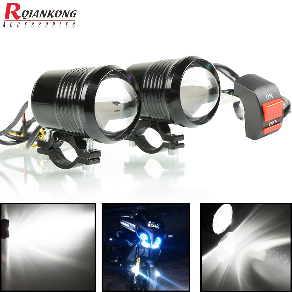 2PCS Motorcycle Headlight U2 High Low Flash LED Driving Spot Head Bulb Light Black Auxiliary Lamp 1200LM 30W 12V Motocross parts|Covers & Ornamental Mouldings| |  - title=