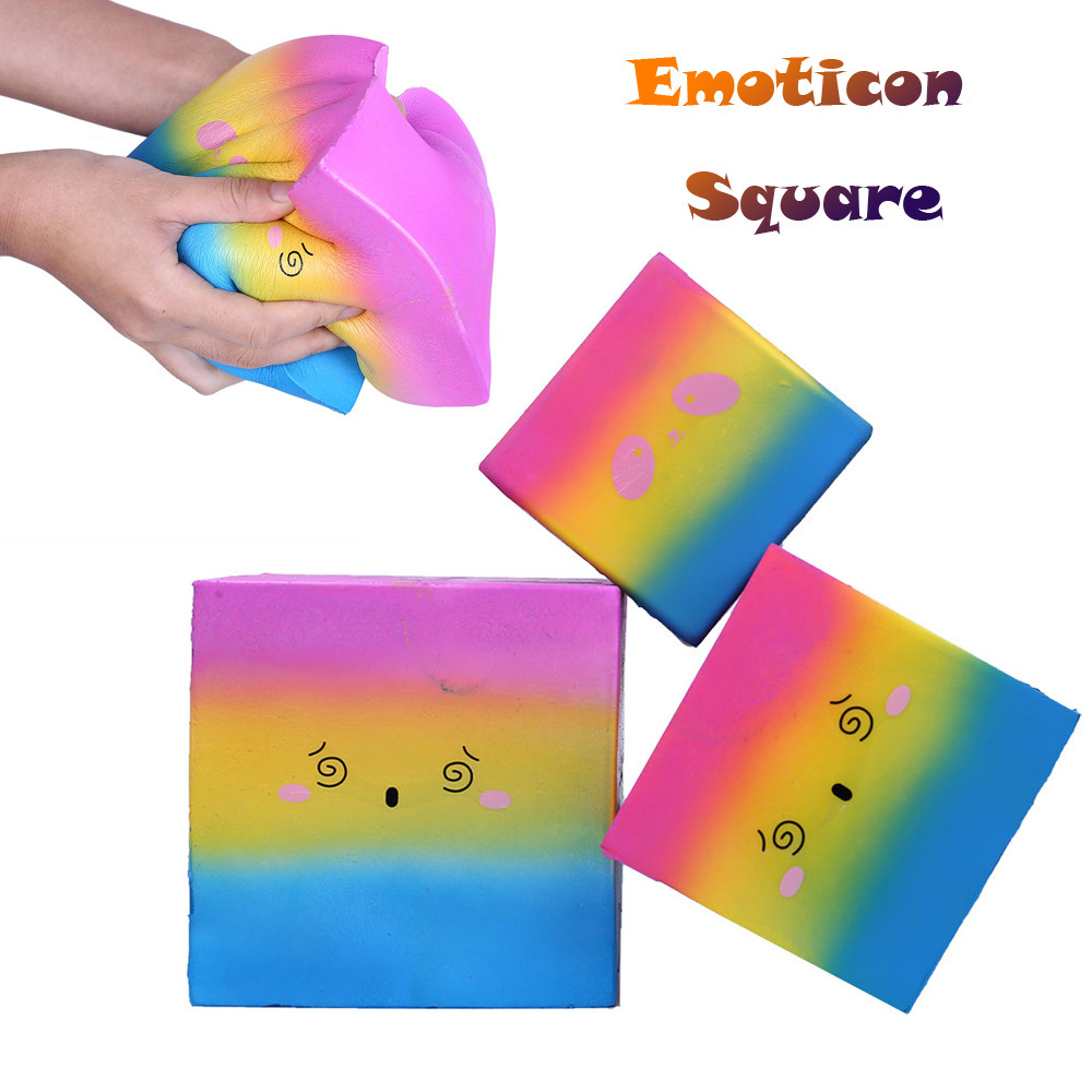 Rebound Color Hot Emoticon Multi-block Square Stress Reliever Scented Slow Rising Kids Toy Squeeze Toys L108