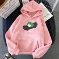 Зимние weatshirt для мужчин и женщин толстовки скейтборд лягушка негабаритных SHarajuku теплый пуловер шнурок розовый женская одежда в Корейском ст...