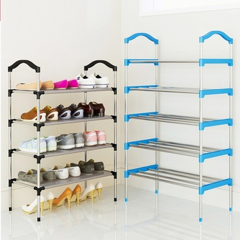 Multi-Layer Metal Standing Shoe Rack Portable Living Room Door Cabinet Removable Storage Shelf Folded Home Furniture Organizer
