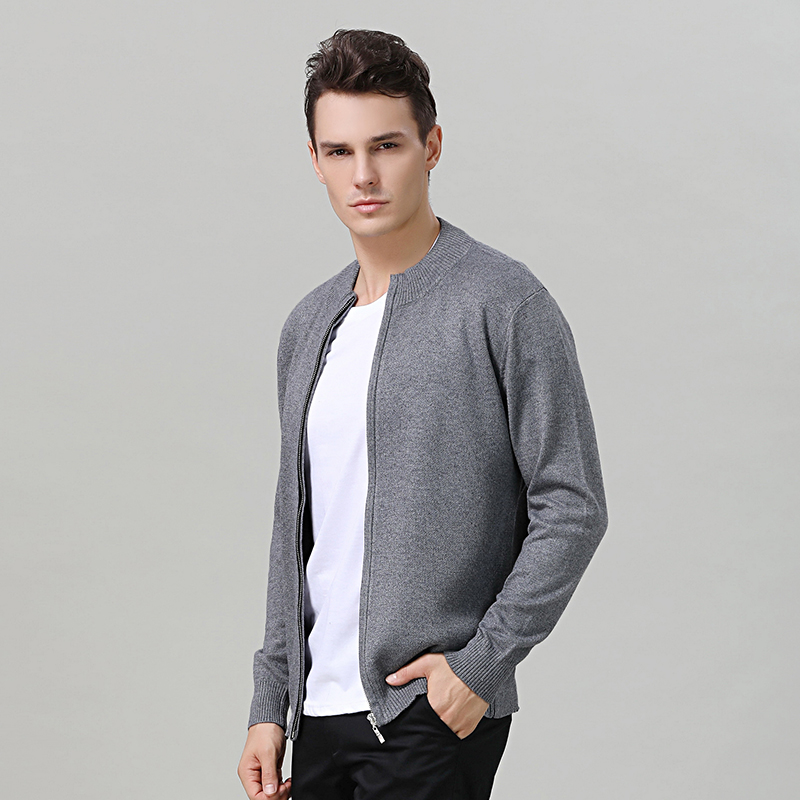Cashmere Cardigan Sweater Men Thickening Warm Brand Clothing Fashion Zipper Fashion Winter Jacket Solid Color Black Sweater Men