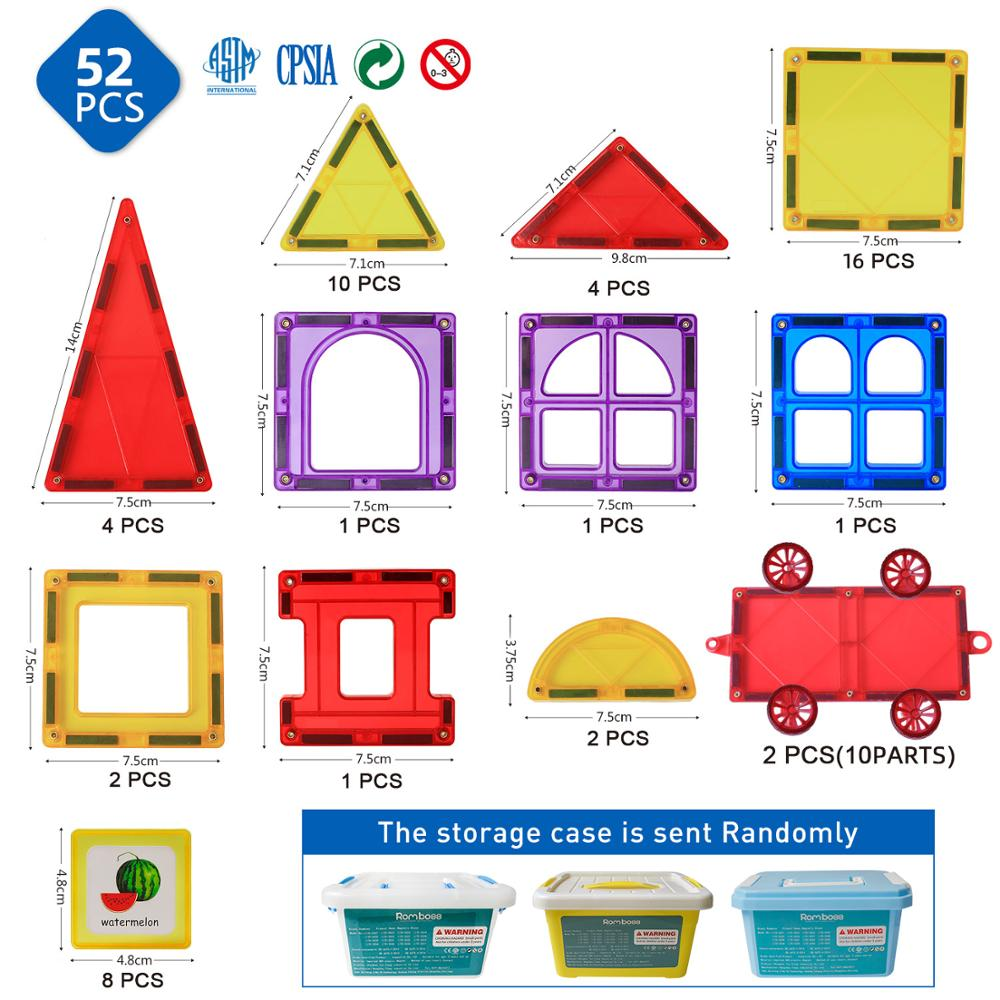 Romboss grande taille 52 pièces blocs de Construction magnétiques ensembles jouets éducatifs carreaux magnétiques pour enfants cadeaux de noël