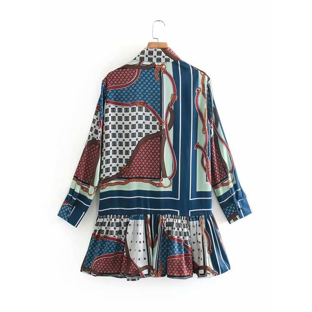 ZA 2020 New Fashion Women 3D print Folds chiffon shirt Blouses Turn-down Collar Long Sleeve Shirt Casual Loose Tops 3