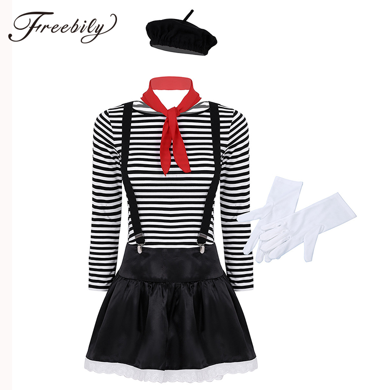 Women Adults Mime Halloween Costume French Artist Clown Circus Fancy Dress Outfits Striped Top +Skirt+ Scarf +Suspender + Gloves