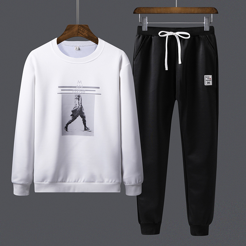 2018 Autumn New Style Hoodie Suit Casual MEN'S Wear Large Size Loose-Fit Coat Casual Sports Pants Two-Piece 8865