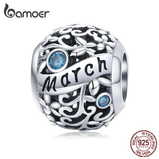 bamoer 925 Sterling Silver Month Birthday Stone Round Beads fit Women Charm Bracelet Bangle DIY Jewlry Making SCC1385