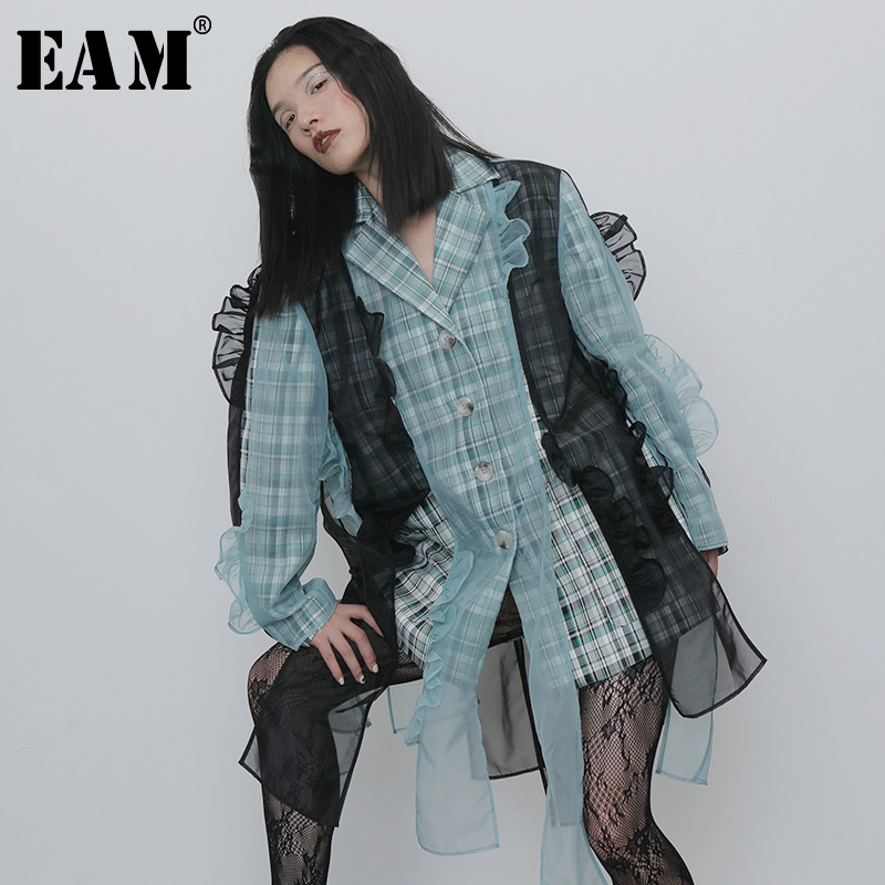 [EAM]  Women Green Ruffles Organza Big Size Blazer New Lapel Long Sleeve Loose Fit  Jacket Fashion Spring Autumn 2019 1H273