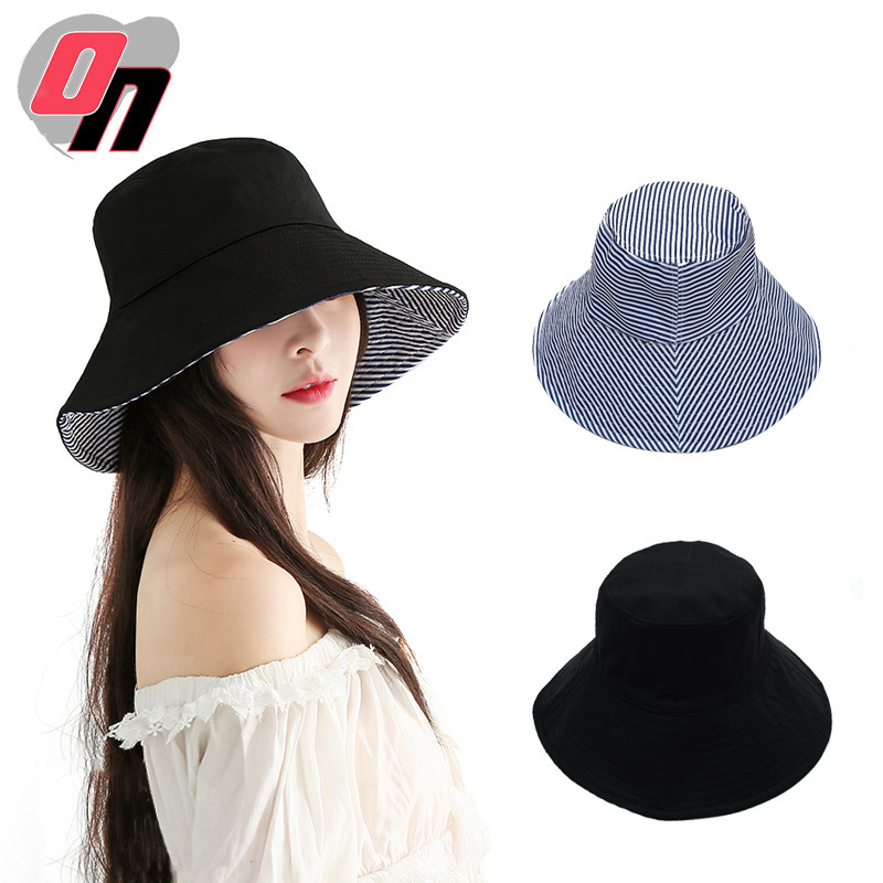 Summer New Style Hat Couples Literature And Art Hip Hop Foldable Bucket Hat Fashion Japan Uvcut Sun-resistant Double-Sided Bucke