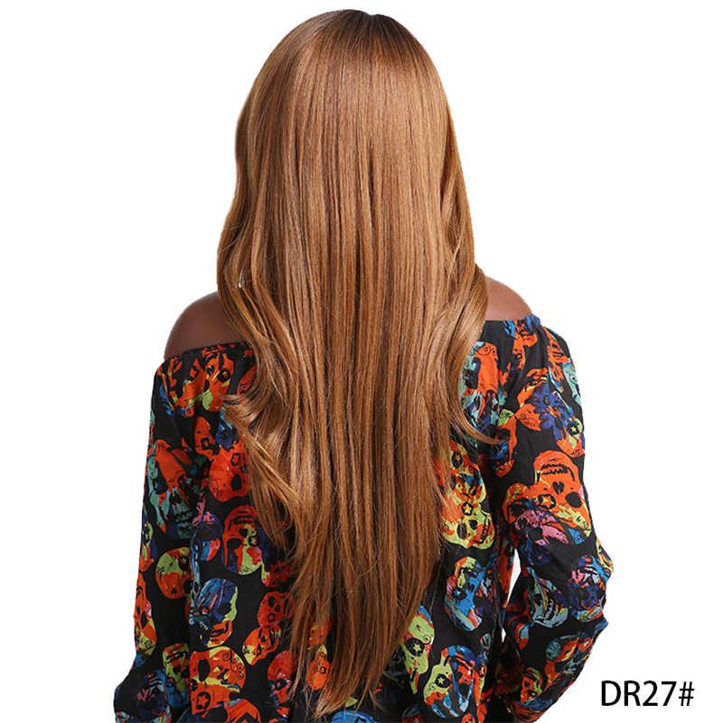 Ombre Coklat Warna Pirang Renda Bagian Wig dengan Poni X-TRESS Rambut Sintetis Wig untuk Wanita Hitam Panjang Lurus Tengah/bagian Sisi Wig
