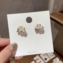 MENGJIQIAO New Handmade Elegant Shell Pearl Flower Drop Earrings For Women Fashion Crystal Boucle D'oreille Girls Jewelry Gifts