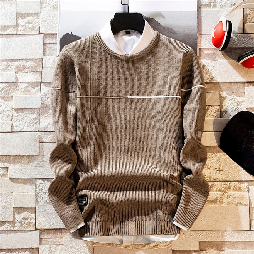 Autumn Winter Sweater Men 2019 New Arrival Casual Pullover Men Long Sleeve O-Neck Knitted Solid Men Sweaters