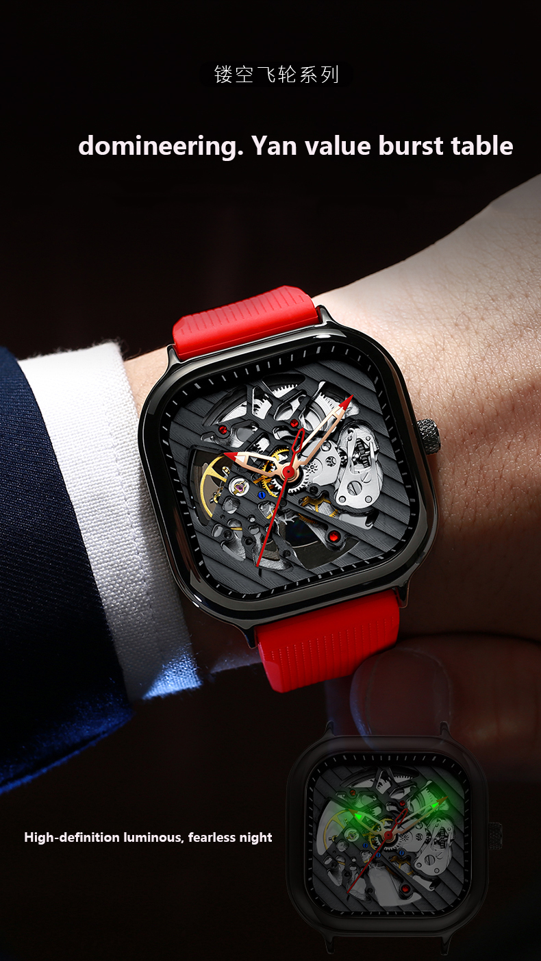 Heecd0d1a6431490c817b89e1744c72aee 2020 new men's automatic watch brand luxury silicone strap hollow Swiss square ten watches