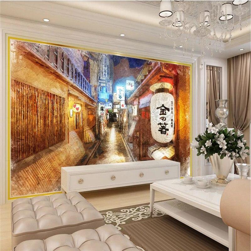 Ностальгический японский стиль уличный 3D фото обои s для японской кухни Суши Ресторан промышленный Декор настенная бумага 3D