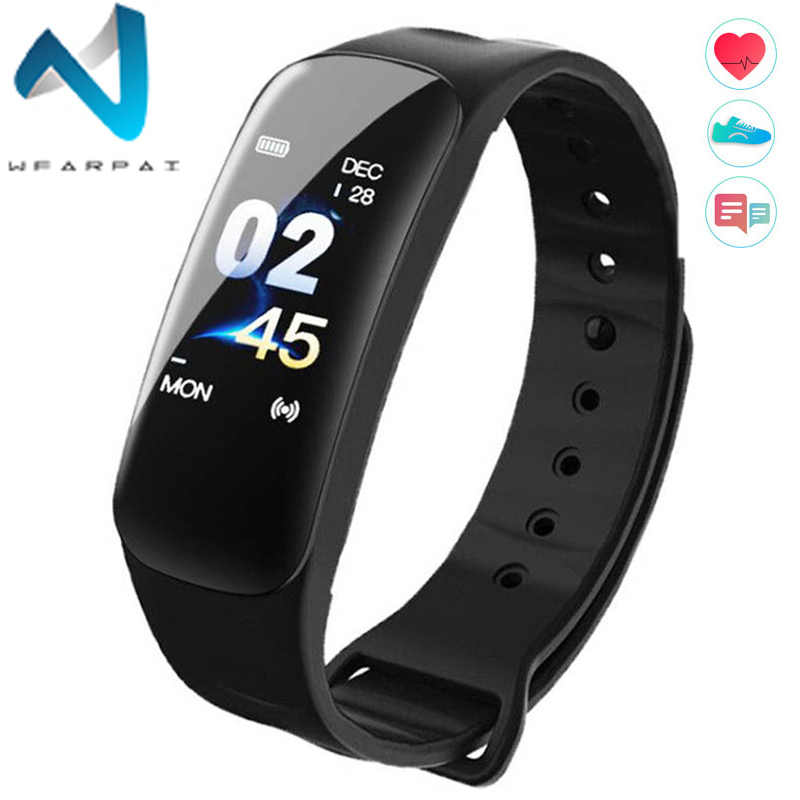 Wearpai C1Plus Smart Watch Blood Pressure Fitness Tracker Heart Rate Monitor Smart Bracelet Black Men Watch for Sport Climbing