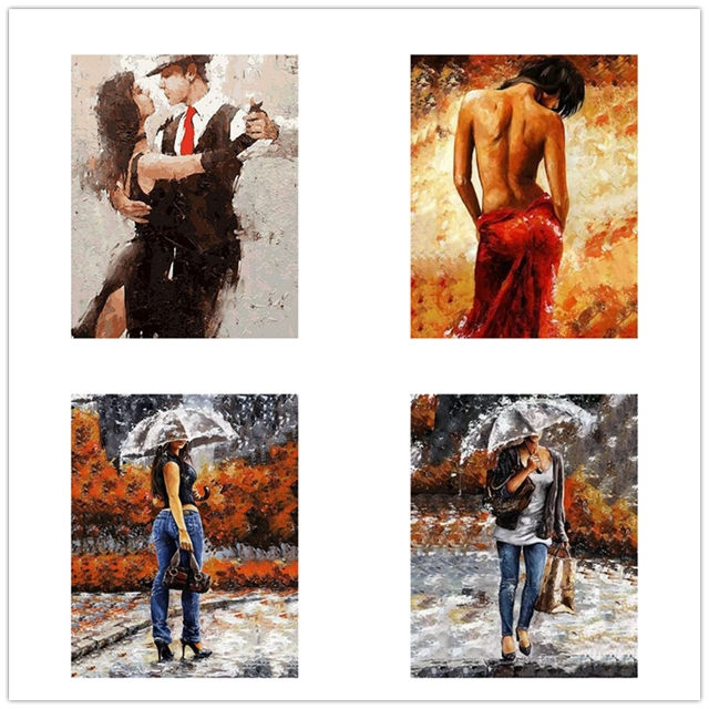 New DIY Dancing Drawing Girls Landscape Oil Acrylic Painting By Number on Canvas Framed Wall Picture Art for Home Decor