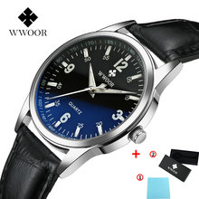 Relogio Masculino WWOOR 2019 Fashion Men's Leather watchbands Casual Quartz Wrist Watch Business Watches horloges Simple Manner