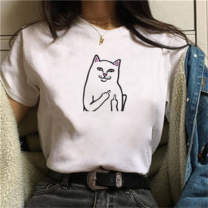 Graphic tees tops Bell cat Print tshirts women funny t shirt white Tops casual short Camisetas Mujer_T-Shirt