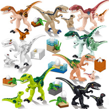 Jurassic Dinosaur World Park Baby Fallen Kingdom Carnotaurus & Interbreed Velociraptor T-Rex Movies Dinosaurs Blocks