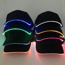 Горячая мода унисекс, однотонный светодиодный светящийся бейсбольный головной убор для рождественской вечеринки