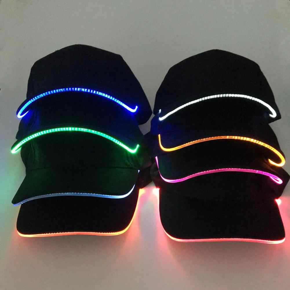 Hot Fashion Unisex Effen Kleur LED Lichtgevende Baseball Hat Christmas Party Pet