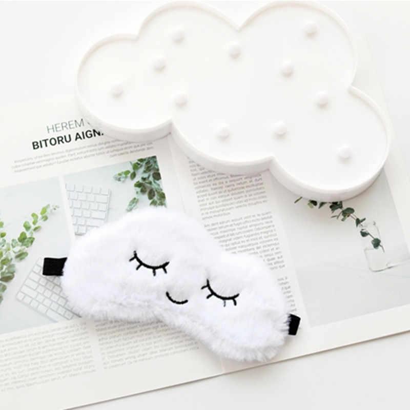 Máscara de olho de nuvem de pelúcia dos desenhos animados bonito variedade máscara de dormir capa de pelúcia máscara relaxar adequado brinquedos recheados