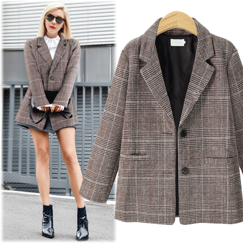 XL-5XL Plus Size Women's Plaid Casual Suit Grey Coffee Blazer Winter Windproof Fashion Work OL Jacket