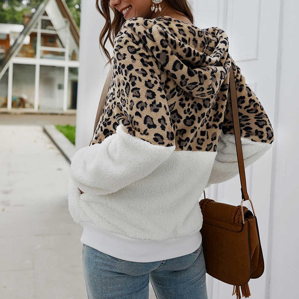 Puimentiua Frauen Winter Mantel Top Langarm Mit Kapuze Herbst Warme Jacke Outwear Lässige Mode Leopard Tops Mantel Heißer Verkauf S-XL