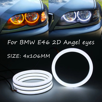 4Pcs 106mm LED Cotton light angel eyes halo ring kits dual color for BMW 3 Series E46 Facelifted Coupe 2 Door Convertible
