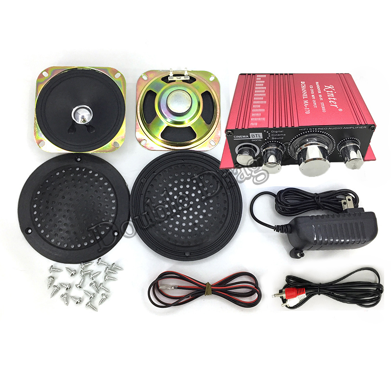 Amplifier AC 110-240V DC 12V 2.6A Output With Power Adapter Audio Cable Power Wire 4 Inch Speaker For Arcade Game Machine